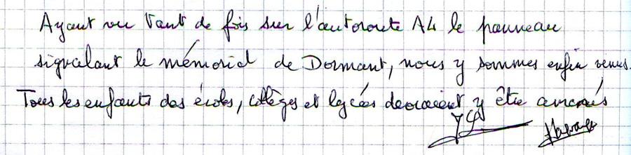 Mots laissés par les visiteurs du Mémorial de Dormans 10
