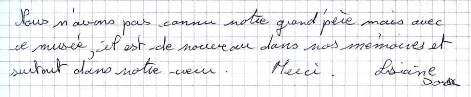 Mots laissés par les visiteurs du Mémorial de Dormans 7