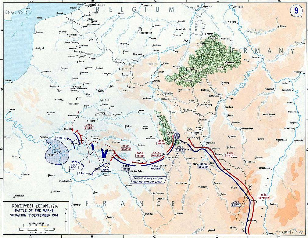 Carte de la bataille de la marne, avec les positions au 9 septembre.
