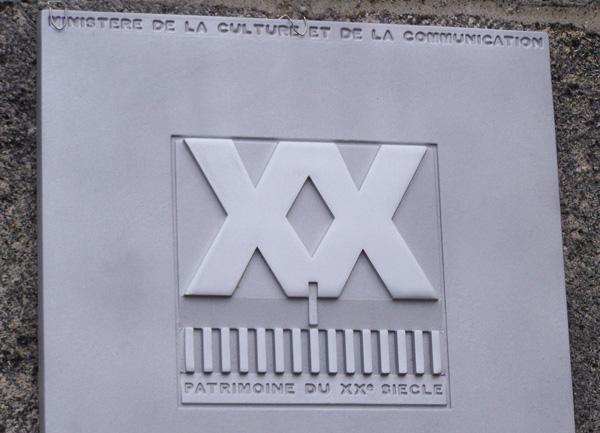 Plaque patrimoine du XXe siècle