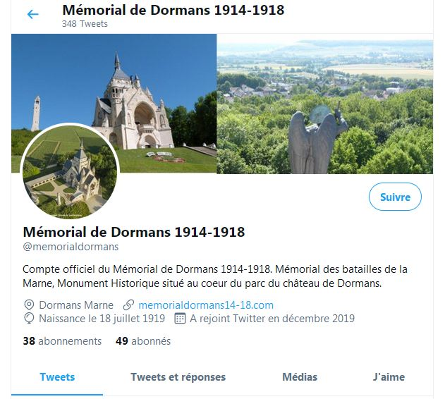 Le profil du compte Twitter du Mémorial de Dormans
